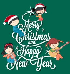 Children playing music on Merry Christmas tree let vector image vector image