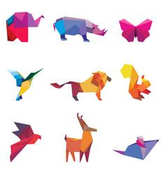 color origami animals vector image vector image