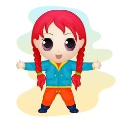Cute anime chibi little girl simple cartoon style vector