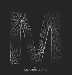 Letter m of branch or cracked alphabet m vector