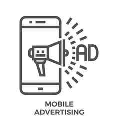 mobile advertising icon vector image