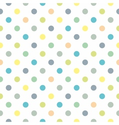 Tile green blue yellow polka dots white background vector image vector image