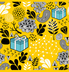 yellow background seamless pattern with holiday vector image vector image
