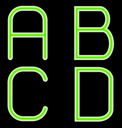 a b c d letters of geometric shape and in green vector image