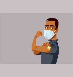 African man showing vaccinated arm vector