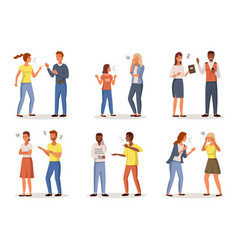 angry people conflict situations cartoon vector image