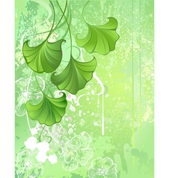 Background with spring green leaves vector
