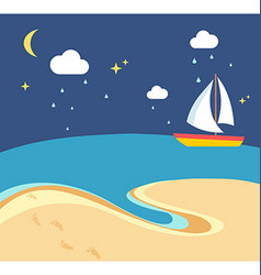 Beach scene with the sailing boat at a night vector