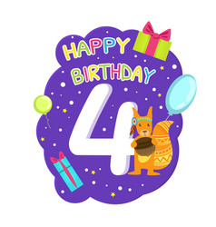 Birthday anniversary number and cute ethnic vector