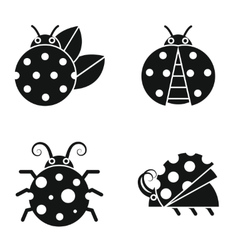 Black silhouette ladybugs on white background vector