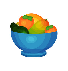 Blue ceramic bowl full of fresh fruits ripe mango vector