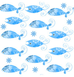 blue fish simple seamless patternit is located in vector image