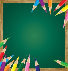 Board wood with colorful pencil background vector