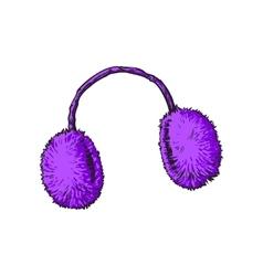 Bright purple fluffy fur ear muffs vector