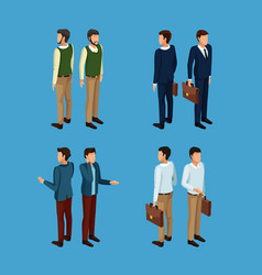 businessmen 3d icons vector image