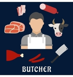 Butcher shop and meat flat icons vector image