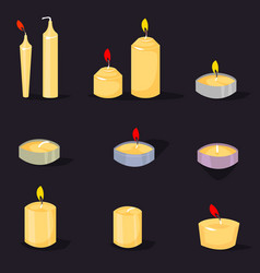 candles in a flat style cartoon burning vector image
