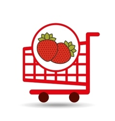 Cart shopping fruit strawberry icon graphic vector