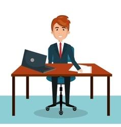 Cartoon man worker on computer desktop sitting vector