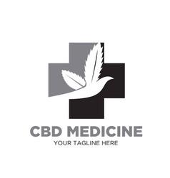 cbd cross leaf logo designs medicine vector image