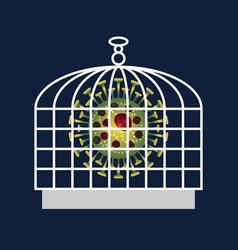 coronavirus locked in bird cage on dark backdrop vector image