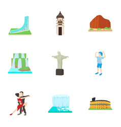 country brazil icons set cartoon style vector image