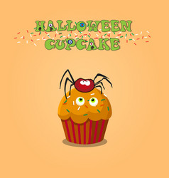 cute happy halloween cupcake with spider and vector image
