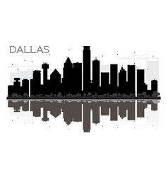 Dallas city skyline black and white silhouette vector