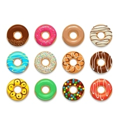 Donuts icons set cartoon style vector