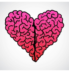 Doodle Brain Heart vector