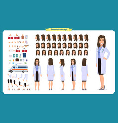 Female doctor character creation set vector