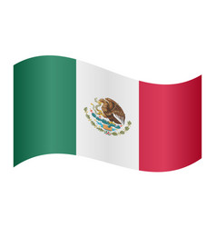 Flag of mexico waving on white background vector