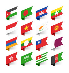 Flags world asia set 3 vector