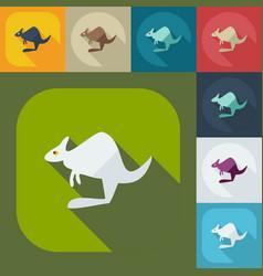 Flat modern design with shadow icons kangaroo vector