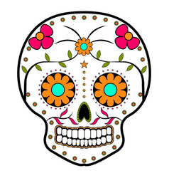 Floral ornamente head skull day of the dead vector