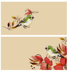Flowers and cute birds banners set vector