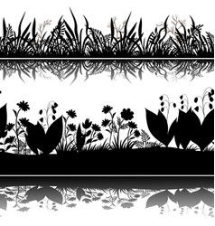 Flowers silhouettes seamless vector