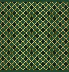 Gold and green moroccan motif tile pattern vector