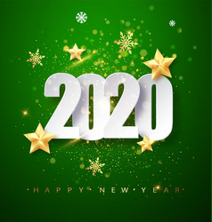 green happy new year 2020 greeting card with vector image