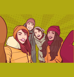 group of young people making selfie photo wearing vector image