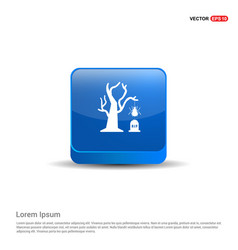 halloween tree icon - 3d blue button vector image