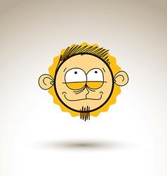 Hand drawn cartoon happy boy Web avatar theme vector