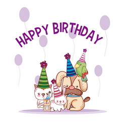 Happy birthday pets cartoons vector