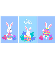 Happy easter a set greeting designs with vector