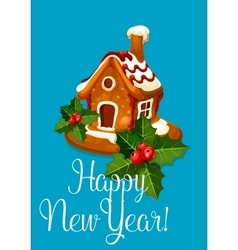 Happy new year gingerbread house vector