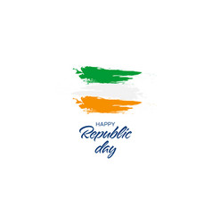 happy republic day handwritten text with flag vector image