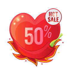 hot sale concept with red pepper and flame vector image