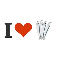I love anchovies heart and small fish logo vector
