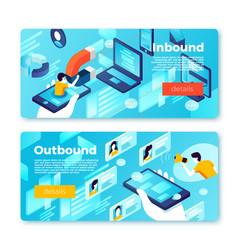 internet inbound outbound marketing banners vector image