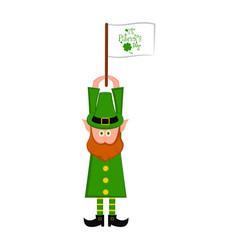 irish elf with a flag of saints patricks day vector image